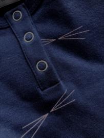 Longsleeve Ombre Blue met metaalkleurige knoopjes