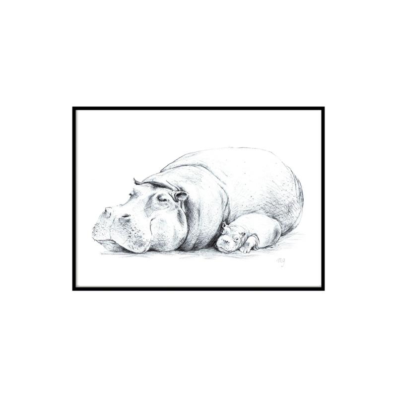 A3 Poster - Sleepy Hippo (handgetekend)