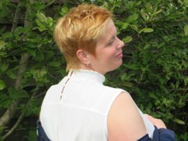 Zoey witte mouwloze top met kraagje