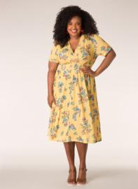 Ivy Bella gele jurk met overslag look en bloemen print