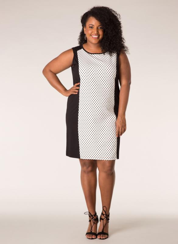 Ivy Bella jurk aansluitend wit met zwarte stippen