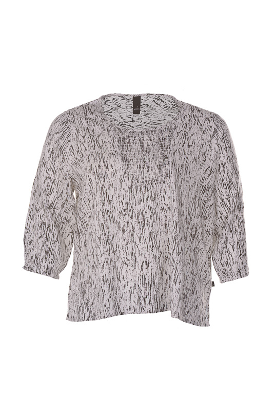 Adia blouse off white/zwart dessin