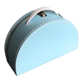 Koffertje halfrond Blauw 28 cm
