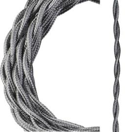 Bailey textielsnoer gedraaid 2 x 0,75 mm² 3 meter kleur metallic zilver