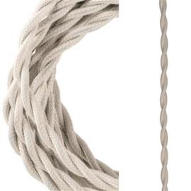 Bailey textielsnoer gedraaid 2 x 0,75 mm² 3 meter kleur beige