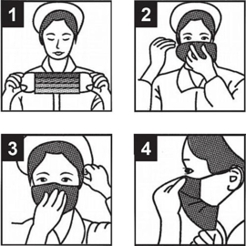 Mondkapje, mond- en neus bescherming voor eenmalig gebruik vpe = 50 st.