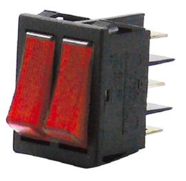 GBO inbouw wipschakelaar 2 x 1 polig zwart + controle rood