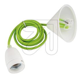 GBO snoerpendel groen en E27 fitting porselein