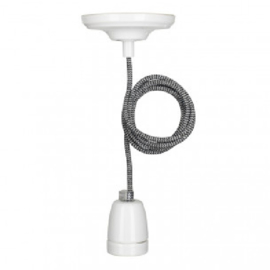 Bailey hanglamp York fitting porselein wit E27 incl. zwart/wit textielsnoer + plafondkap wit