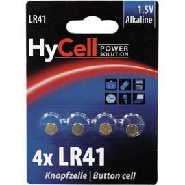 HyCell 4 stuks Alkaline knoopcellen LR41 / AG3  1.5 Volt