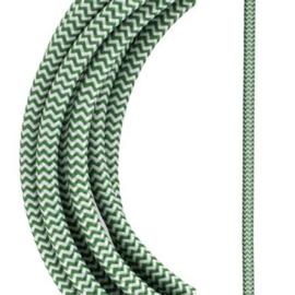 Bailey textielsnoer 2 x 0,75 mm² 3 meter kleur groen/wit