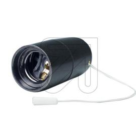 GBO fitting  E27 zwart glad met trekschakelaar M10 x 1