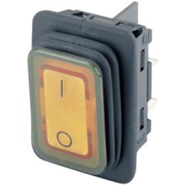 GBO inbouw wipschakelaar 2 polig zwart + controle oranje  & 0-1 IP65