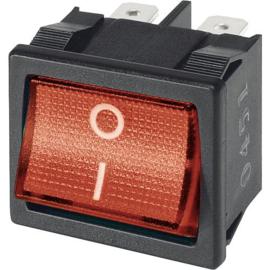 GBO inbouw wipschakelaar 2 polig zwart + controle rood 0-1