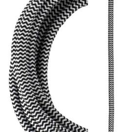 Bailey textielsnoer 2 x 0,75 mm² 3 meter kleur zwart/wit