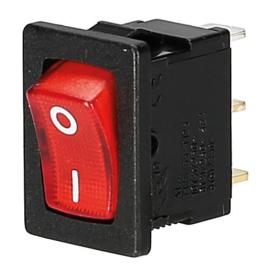 GBO inbouw wipschakelaar 1 polig zwart + controle rood