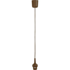 GBO snoerpendel 1.2 meter bruin E27 met kapfitting en plafondkap