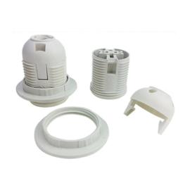 GBO click fitting E27 3 delig kunststof buitendraad met ring kleur wit