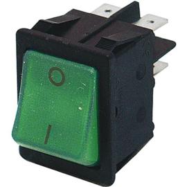 GBO inbouw wipschakelaar 2 polig zwart + controle groen 0-1