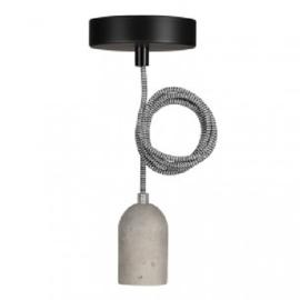Bailey hanglamp Bern fitting  beton E27 incl. zwart/wit textielsnoer + plafondkap zwart