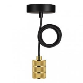 Bailey hanglamp Riga fitting  goud E27 incl. zwart textielsnoer + plafondkap zwart