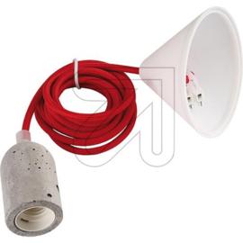 GBO snoerpendel rood E27 fitting betonlook