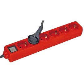 GBO tafeldoos 6 voudig met randaarde, controleschakelaar en platte haakse stekker kleur rood