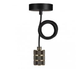 Bailey hanglamp Riga fitting  antiek brons E27 incl. zwart textielsnoer + plafondkap zwart