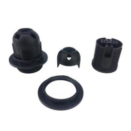 GBO click fitting E27 3 delig kunststof buitendraad met ring kleur zwart