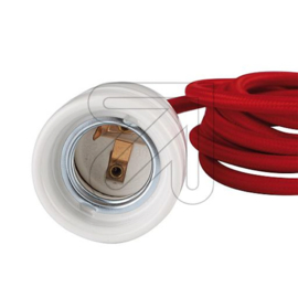 GBO snoerpendel rood E27 fitting porselein