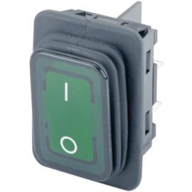 GBO inbouw wipschakelaar 2 polig zwart + controle groen & 0-1 IP65