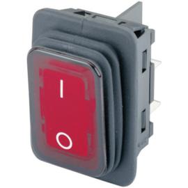 GBO inbouw wipschakelaar 2 polig zwart + controle rood & 0-1 IP65