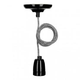 Bailey hanglamp York fitting porselein zwart E27 incl. zwart/wit textielsnoer + plafondkap zwart