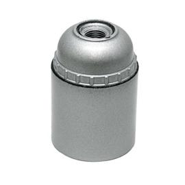 GBO fitting E27 zilver kunststof glad