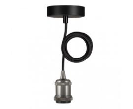 Bailey hanglamp Oslo fitting zwart E27 incl. zwart textielsnoer + plafondkap zwart