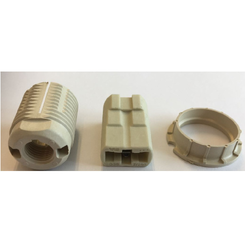 GBO Lamphouder G9 steatiet, 3 delig kunststof met buitendraad en ring