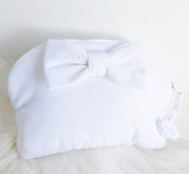 Mondmaskertasje met strik en flush (personaliseerbaar zoals de andere)
