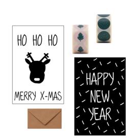 KERSTKAARTENSET - Merry X-mas/Happy new year