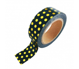 WASHI TAPE - BLACK GOLD FOIL DOTS