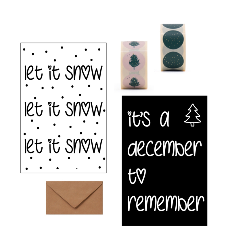 KERSTKAARTENSET - Let it snow/December