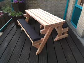 Zitkussens bank en picknicktafel 2 in 1 XL model Luxe
