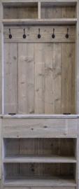 Steigerhouten kapstokkast met klep (5 zwarte haken)