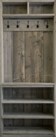 Steigerhouten kapstokkast met bovenvak (7 zwarte haken)