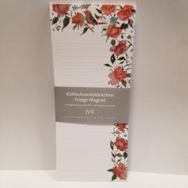 Notitieblok met magneten || Perzische rozen || 10 x 24 cm