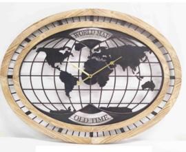 Ovalen klok wereldkaart