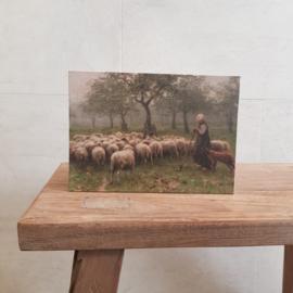 Decobord herderin met schapen A5