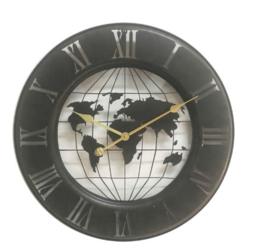 Zwart metalen globe klok