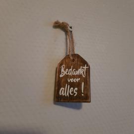 Houten label bedankt voor alles || 4 x 5.7 cm