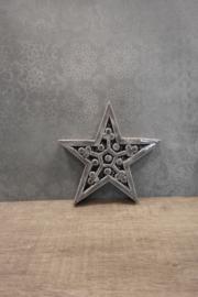 Ster met carving grijs