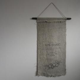 Wanddoek cocktail Gin- tonic || shabby linnen doek